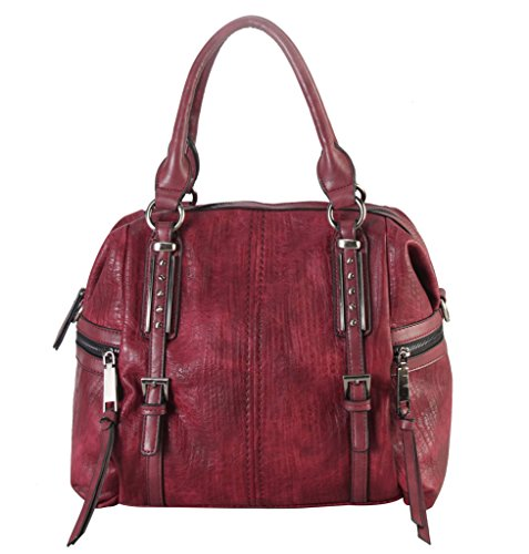 [Diophy Soft PU Leather Tote Accented with Two Studded Décor Buckles in Front and Zippered Pockets on Both Side Womens Purse Handbag] (Sale On Purses)