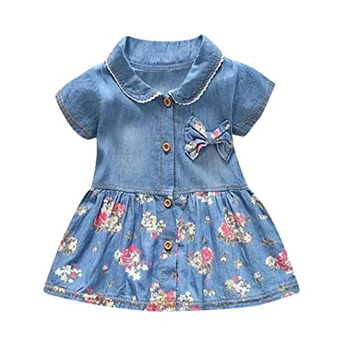 FEITONG Toddler Baby Girls Floral Print Bowknot Short Sleeve Princess Denim Dress Outfit (Blue, 0-6M)