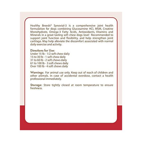 Healthy Breeds Synovial-3 Joint Health Formulation Soft Chews - Over 200 Breeds - Comprehensive Blend to Support Joint Strength Flexibility & Function - 120 or 240 Ct 2