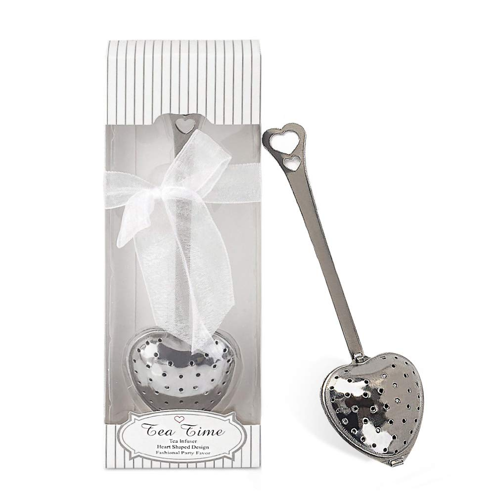 dngcity Wedding Favor Tea Time Heart Shaped Tea Infuser Spoon Set of 20 by dngcity