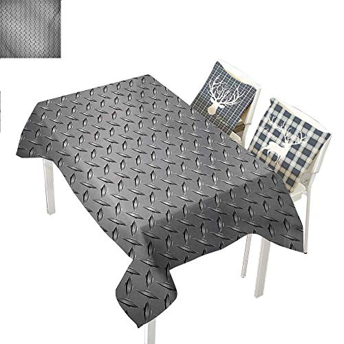 WilliamsDecor Grey Square Tablecloth Cross Wire Fence Netting Display with Diamond Plate Effects Chrome Kitsch Motif PrintSilver Rectangle Tablecloth W60 xL120 inch ()