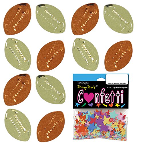 - Confetti Football Gold, Orange Mix - 4 Half Oz Pouches (2 oz) FREE SHIPPING --- (CCP9540)