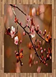 Nature Area Rug by Ambesonne, Cherry Blossom Sakura Tree Branches Flowering Japanese Flourishing Print, Flat Woven Accent Rug for Living Room Bedroom Dining Room, 5.2 x 7.5 FT, Pale Pink Dark Coral