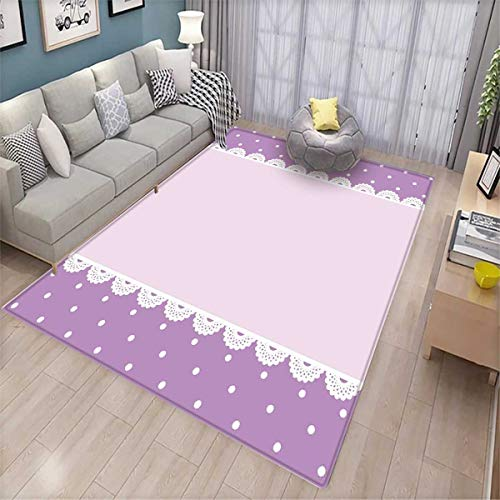 Mauve Anti-Skid Rugs Old Fashioned Ornate Lace Pattern with Classical Polka Dots Background Image Girls Rooms Kids Rooms Nursery Decor Mats Lilac -