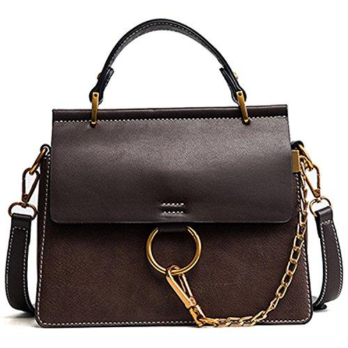 I'll NEVER BE HERduo Women Messenger Bags Luxury Brand Ladies Shoulder Bags Designer Chain Handbags Flap Crossbody Bags,Dark Khaki,23Cm 19Cm 7Cm