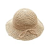 HugeDE Girls Floppy Foldable Packable Wide Brim Summer Sun Hats Beach Straw Hat for Toddlers Kids Beige