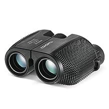 TOMSHOO 10x25 Binocular Waterproof Compact BAK4 Green Lens High Powered Telescope for Outdoor Sports Birdwatching Concert Travel