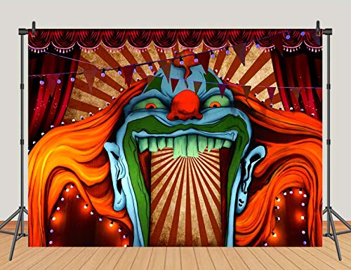 Halloween Party Entrance (Horror Circus Carnival Theme Halloween Eve Photography Background Giant Birthday Party Photo Background Scary Entrance Giant Evil Vampire Decoration Cake Table Banner Studio Prop 5x3ft)