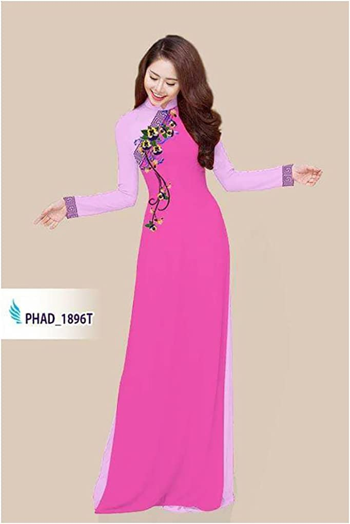 Traditional Vietnamese Long Dress Collections with Pants Silk 3D ADVN1766 Ao Dai