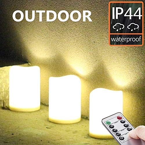 (Set of 3 Outdoor IP44 Warm White LED Rainproof Waterproof Flameless Battery LED Pillar Candles with Remote and Timer, Plastic, Won't Melt, Weather Resistant Design 3 x 4