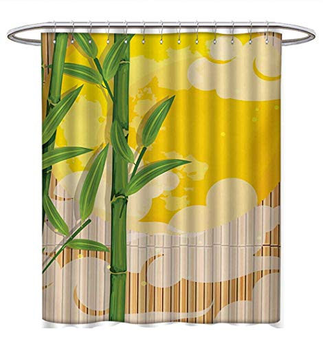 Anhuthree Asian Shower Curtains Digital Printing Bamboo Tree Branches Full Moon and Abstract Curvy Clouds Stars Eastern Custom Made Shower Curtain W72 x L84 Yellow Green Pale Brown ()