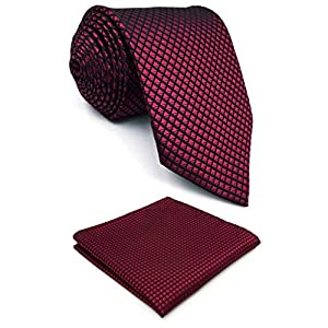 SHLAX&WING Tie Set for Men Neckties Pocket Square Silk Long Handkerchief Woven