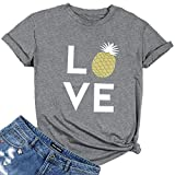 Women Love Pineapple Letters Print Funny T-Shirt Casual Short Sleeve Blouse Tees Size S (Gray1)