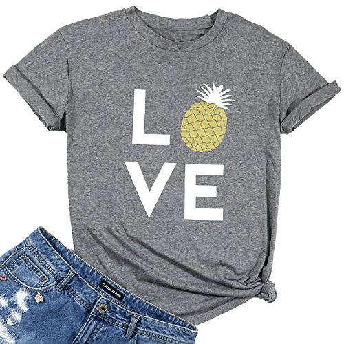 Women Love Pineapple Letters Print Funny T-Shirt Casual