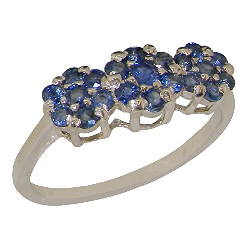 (925 Sterling Silver Real Genuine Sapphire Womens Cluster Promise Ring - Size 9)