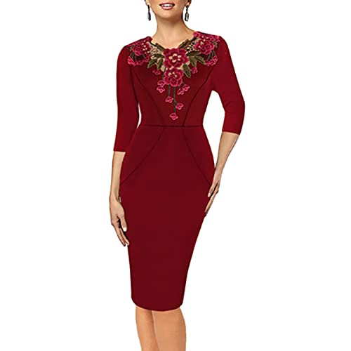 Samtree Women's Floral Embroidery 3/4 Sleeve Slim Bodycon Business Party Work Pencil Dress