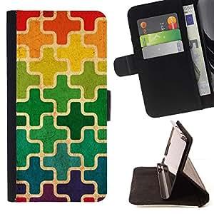 For Samsung Galaxy Note 5 5th N9200 Case , Patrón marroquí Cruz del arco iris- la tarjeta de Crédito Slots PU Funda de cuero Monedero caso cubierta de piel