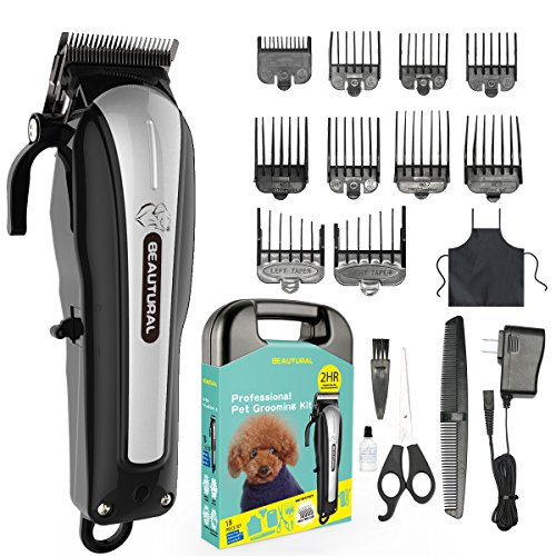 (Beautural Professional Cordless Pet Grooming Clipper Kit, Low Noise Rechargeable Dog & Cat Hair Trimmer with Combs, Scissors, Styling Apron, Storage Case )