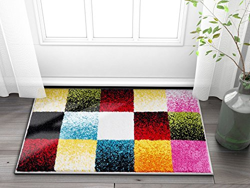 Well Woven Exuberance Multicolor Checkered Boxes Geometric 2x3 (2' x 3' Mat) Area Rug