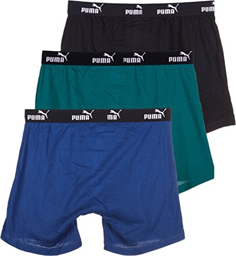 Puma-PUMFW1411593-313-Athletic Fit Cotton Boxer Briefs-3 Pack-Green/Blue-Small