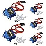 Qiorange 5 Pcs Micro 9g 1.6KG Servo SG90 for RC 250 450 Helicopter Airplane Car Boat (5 Sets)