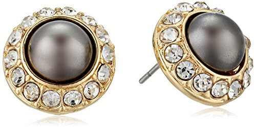 Napier Gold-Tone And Black Pearl Stud Earrings Napier Black Earrings