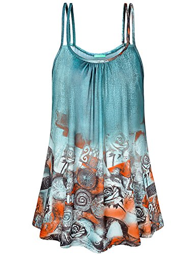 Kimmery Sleeveless Tank Tops for Women, Juniors Workout Shirts Pleated Front Crew Neck Ombre Aqua Tunics Printed Patterned Cute Beautiful Pretty Knitted Heather Camisole Top Light Green X (Aqua Juniors Tank Top)