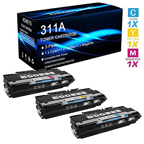 3-Pack Compatible 311A Set (Q2681A+Q2682A+Q2683A) Laser Toner Cartridge Use for HP Color Laserjet 3700DNT 3700DTN 3700DTNS Printer (Cyan+Yellow+Magenta), by KDNETS