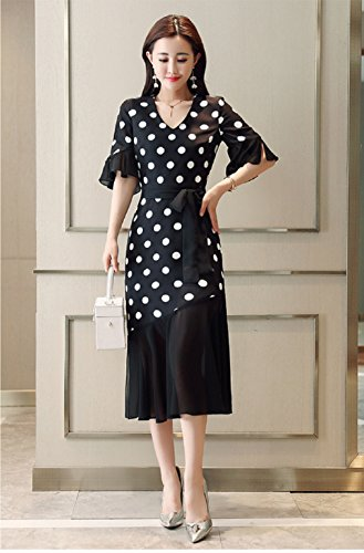 Neck s Black Wave cotyledon Women Half Dresses V Lacing Point Sleeve BOnqzx17w