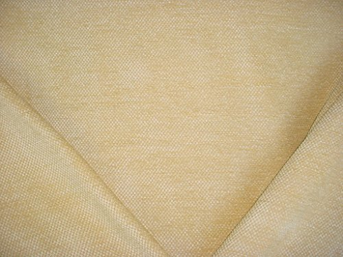 255H13 - Maize Yellow / Creme / Beige Velvety Check Overscale Weave Chenille Upholstery Drapery Fabric - By the (Check Drapery)