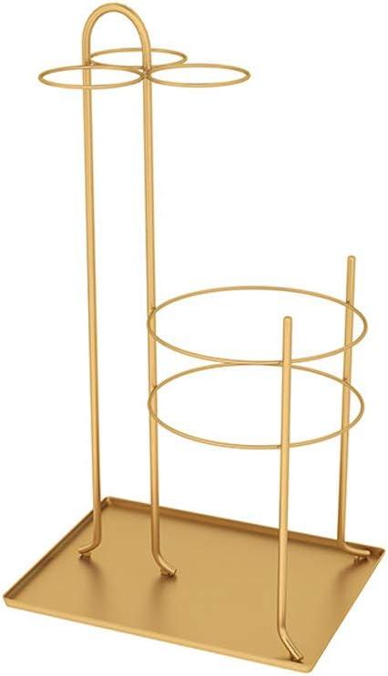 Paragüero, Cubo de Paraguas de Hierro Forjado, Estante de Almacenamiento de pie para Bastones/Bastones/Sombrillas, 33x25x60cm (Color : Oro)