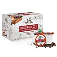 Super Organics Cardio Support Coffee Brew Cups With Superfoods & Probiotics | Keurig K-Cup Compatible | Cardiovascular Health | Medium Roast, USDA Certified Organic, Vegan & Fair Trade Coffee, 12ct