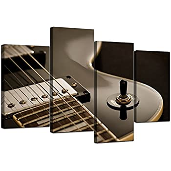 Elegant Large Black White Electric Guitar Canvas Wall Art Pictures   Multi Panel  Artwork   Modern Music