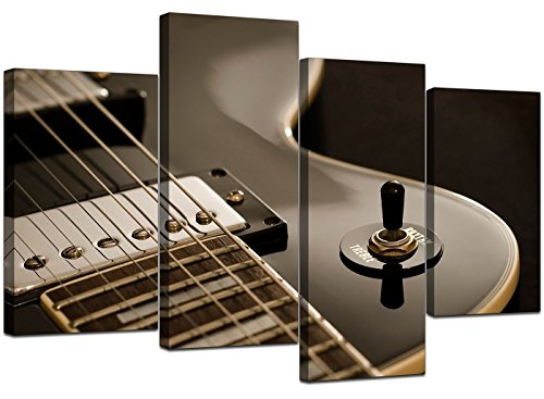 Large Black White Electric Guitar Canvas Wall Art Pictures - Multi Panel Artwork - Modern Music Prints - Split Set of 4 Canvases - XL - 130cm Wide Bedroom Wide Poster Bed