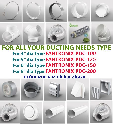 8 inch 200mm dia 1500mm Long 200X1500 Plastic Duct Round Solid Ducting Tube PVC Pipe Ventilation Extractor Fan 1.5 meter