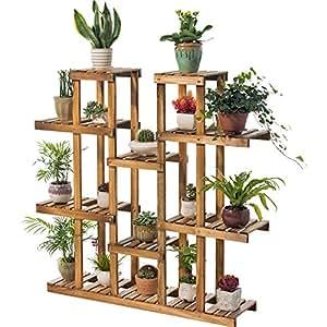 Balcony solid wood flower rack / living room multi-layer wooden flower pot frame / indoor green flower shelf