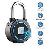 Fingerprint Padlock - Smart Bluetooth Keyless Biometric Lock for Gym, Locker, Outdoor Door, Backpack, Luggage Suitcase, Bike, Office, IP65 Waterproof, USB Charging