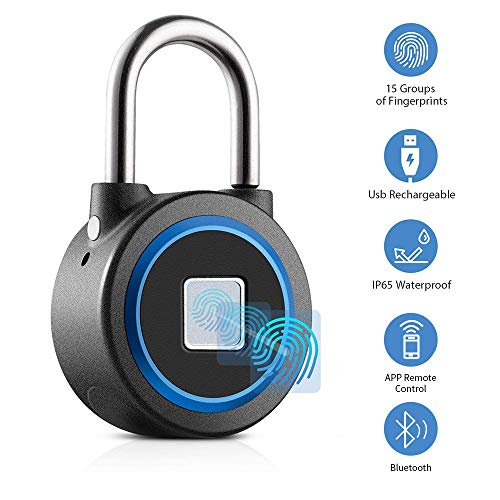 Fingerprint Padlock, Smart Thumbprint Bluetooth Lock Biometric Lock for Gym, Locker, Backpack, Luggage, Suitcase, Office, IP65 Water Resistance, USB Charging, - Water Thumbprint