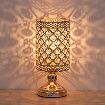 Haitral Crystal Table Lamp Modern Gold Nightstand Desk