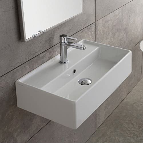 Scarabeo 5002-One Hole Teorema Rectangular Ceramic Wall Mounted Vessel Sink, White