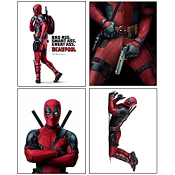 Deadpool --- Set of 4 PHOTO PRINTS / Mini POSTERS of the HIT Marvel Comics Movie starring Ryan Reynolds as Wade Wilson