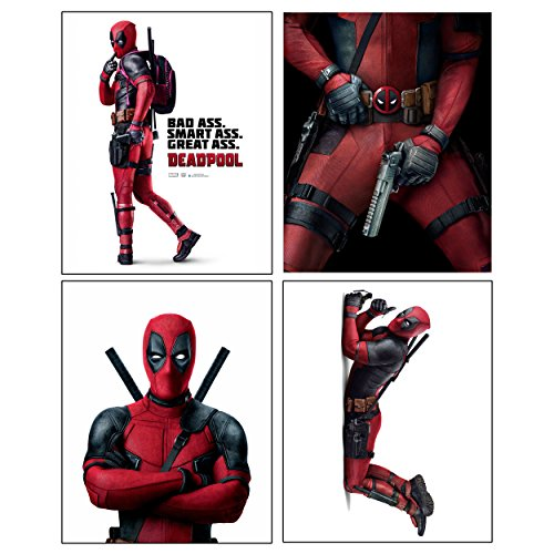 Deadpool --- Set of 4 PHOTO PRINTS / Mini POSTERS of the HIT Marvel Comics Movie starring Ryan Reynolds as Wade Wilson -
