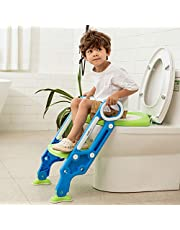 Potty Training Toilet Seat with Step Stool Ladder for Boys and Girls Baby Toddler Kid Children Toilet Training Seat Chair with Handles Padded Seat Non-Slip Wide Step(Blue Green)