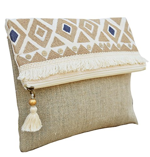 VLiving Boho Pouch Moroccan Natural Colour Linen Bag Foldover Clutch Embroidered 10X8 inches
