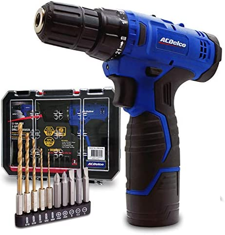 ACDelco ARD12126S1 12V Lithium-Ion Cordless 2-Speed 3 8 Drill Driver Kit 10 Bits, Battery, Charger, Tool case
