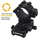 Windage Elevation Adjustable Picatinny Weaver Rail Mount and Barrel clamp Adaptor hold with 1'' inch 30mm Ring for Weapon Rifle Gun Tactical Laser LED Flashlight Light Illuminator Scope Optic Torch