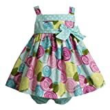 Size-18M,BNJ-9377M 2-Piece AQUA-BLUE MULTI 'Swirly Rosette' FLORAL PRINT Spring Summer Girl Party Dress,M19377 Bonnie Jean Baby/INFANT