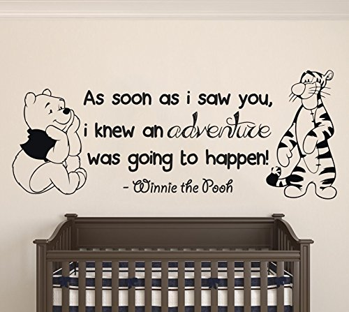 Winnie Pooh & Tigger - As Soon As I Saw You Quote Baby Room Wall Decal- Decal For Baby's Room (Wide 40