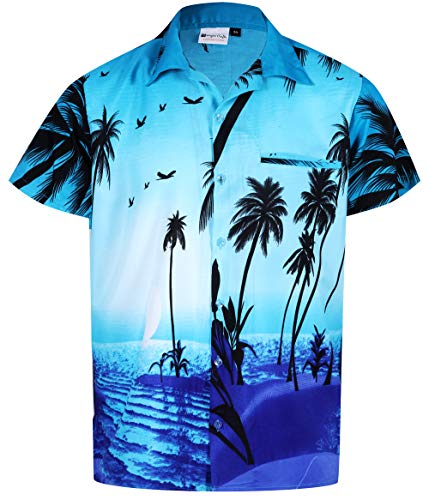Hawaiian Shirts for Women Short Sleeve Front Pocket Big Palm Turquoise M ()