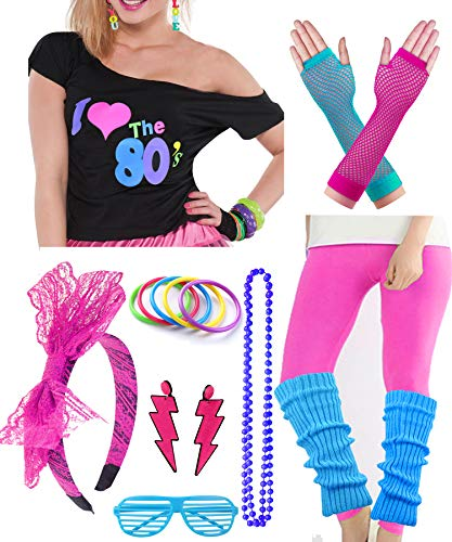 Plus Size Womens 80s Pop Star Party Fancy Costume Outfit T-Shirt Accessory (XXL/XXXL, Hot Pink) -